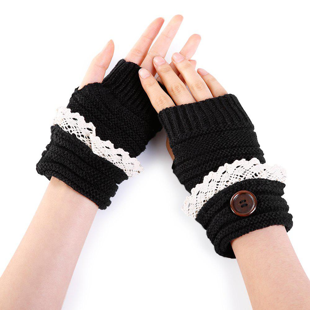 Shops Soft Button Embellished Lace Edge Knitted Fingerless Gloves