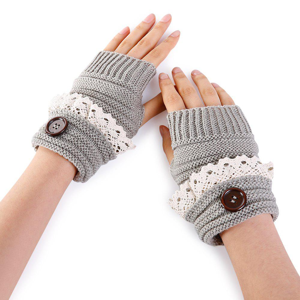 Fancy Soft Button Embellished Lace Edge Knitted Fingerless Gloves
