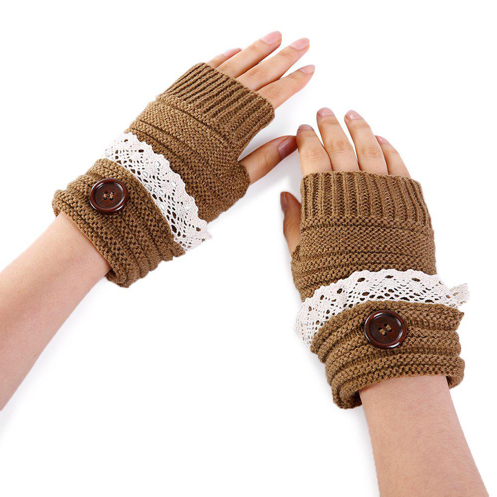 Unique Soft Button Embellished Lace Edge Knitted Fingerless Gloves