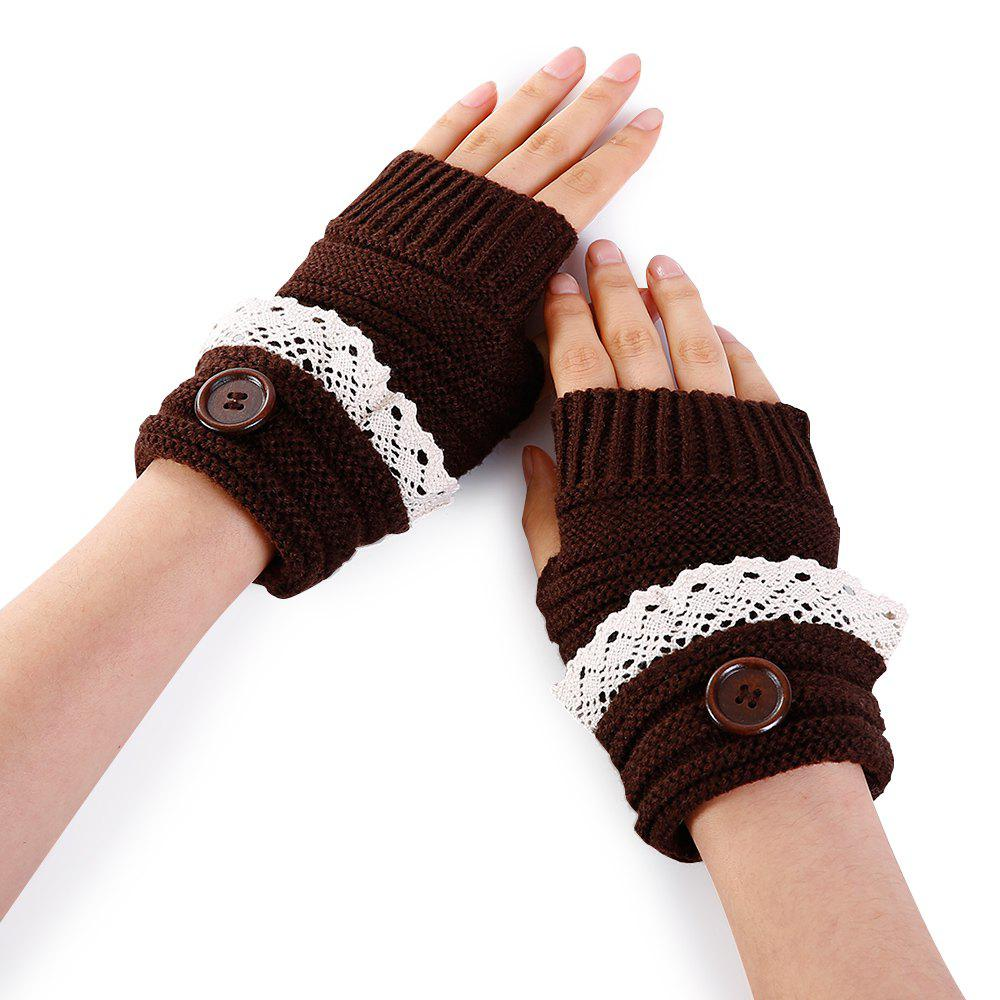 Hot Soft Button Embellished Lace Edge Knitted Fingerless Gloves