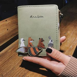 PU Leather Animal Pattern Embroidery Wallet -