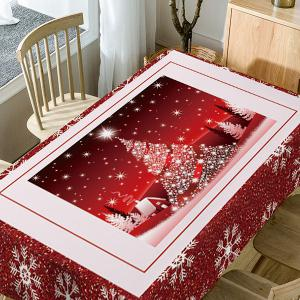 Christmas Tree Snowflakes Print Fabric Waterproof Table Cloth -