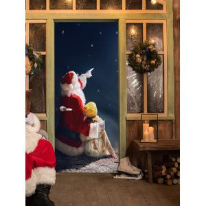 Christmas Santa Girl Pattern Door Cover Stickers -