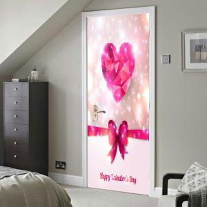 Valentine's Day Heart and Bowknot Print Enviromental Removable Door Stickers -