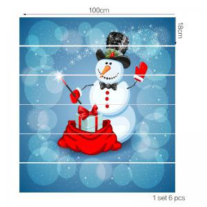 Snowman Magician Printed Home Decoration Removable Stair Stickers -