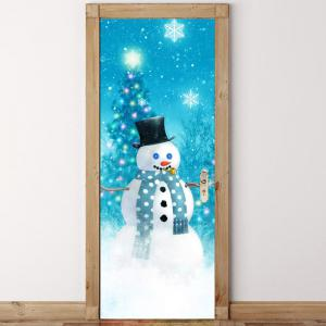 Christmas Snowman Tree Pattern Door Cover Stickers -