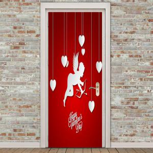 Romantic Cupid and Heart Pattern Removable Door Stickers -