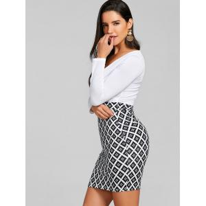 Argyle Print Mini Surplice Bodycon Dress -