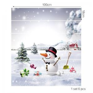 Snowfiled Snowman Present Patterned Stair Stickers -