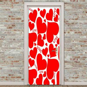 Love Heart Shape Embellished Door Art Stickers -
