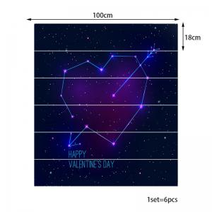 6pcs Cupidon Coeur Starry Sky Pattern Home escalier autocollants -