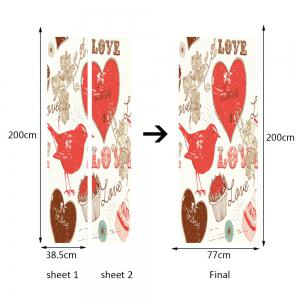Bird Heart Pattern Valentine's Day Door Art Stickers -