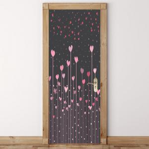Coeur Set arbustes Motif Porte Art Stickers -