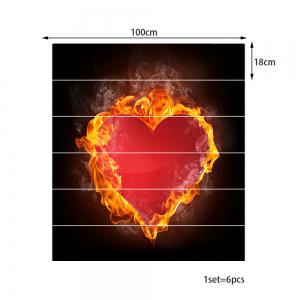 Valentine Burning Heart Pattern Enviromental Removable Stair Stickers -