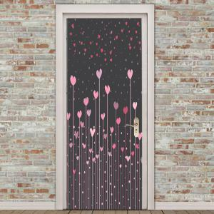 Heart Set Shrubs Pattern Door Art Stickers -