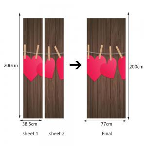 Woodgrain Heart Pattern Valentines Day Door Cover Stickers -