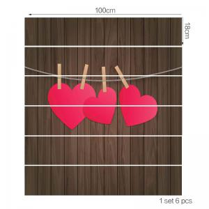 Valentine's Day Wood Grain Hanging Heart Pattern Stair Stickers -