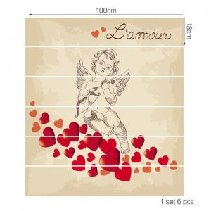 Valentine's Day Romantic Valentine Cupid Pattern Stair Decor Stickers -