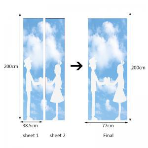 Valentine's Day Bluesky and Lovers Print Enviromental Removable Door Stickers -