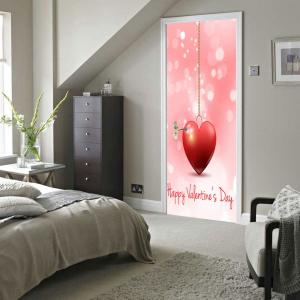 Heart Pattern Valentines Day Door Cover Stickers -