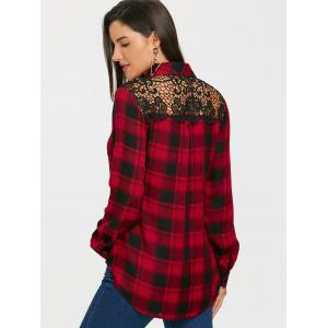 Lace Panel Long Sleeve Tartan Plaid Shirt -