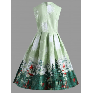 Christmas Ruched Forest Print Plus Size Vintage Dress -