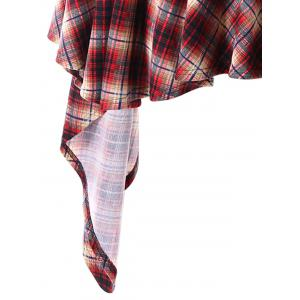 Plus Size Faux Fur Hooded Plaid Poncho Coat -