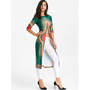 High Slit Tribal Print Midi Dress -