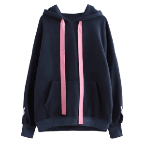 Contrast Ribbon Rabbit Patches Hoodie -