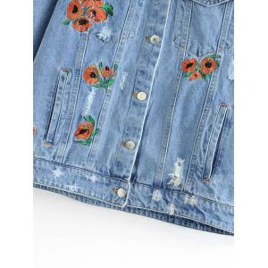 Floral Embroidered Ripped Button Up Jean Jacket -