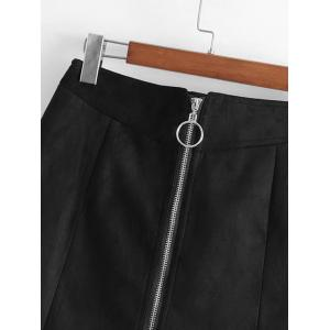 Faux Suede Zip Up A Line Skirt -