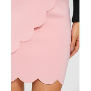 High Waisted Scalloped Mini Bodycon Skirt -