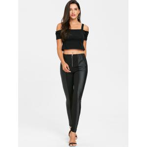 Faux Leather Insert Fitted Pants -