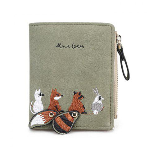 Unique PU Leather Animal Pattern Embroidery Wallet