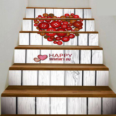 Buy Romantic Button Heart Shape Pattern Stair Stickers