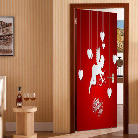 Hot Romantic Cupid and Heart Pattern Removable Door Stickers