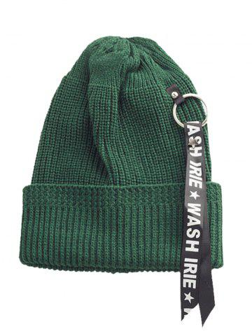 Letter Printing Pattern Embellished Flanging Ribbon Beanie - Green
