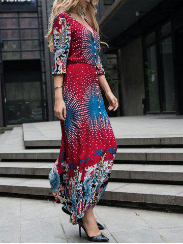 Plunging Neck Button Embellished Printed Maxi Dress