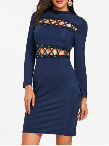 Cheap Hollow Out Lace Up Tight Club Dress