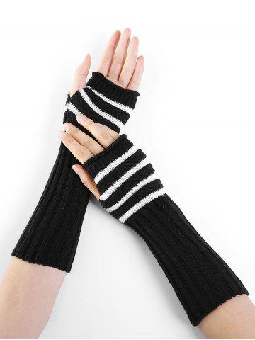 New Outdoor Striped Pattern Embellished Knitted Fingerless Gloves