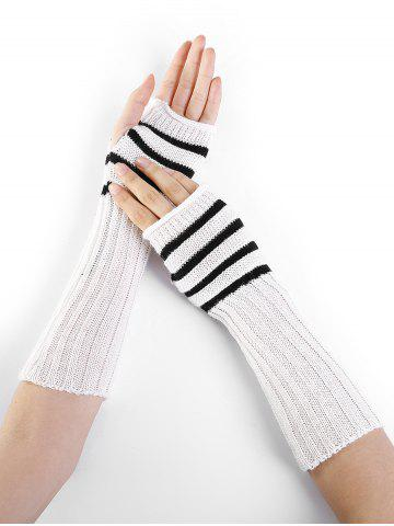 Trendy Outdoor Striped Pattern Embellished Knitted Fingerless Gloves