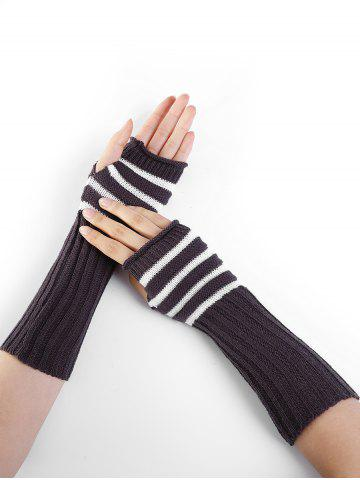 Unique Outdoor Striped Pattern Embellished Knitted Fingerless Gloves