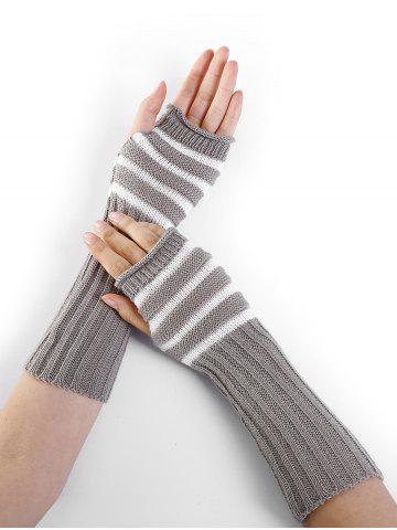 Outfits Outdoor Striped Pattern Embellished Knitted Fingerless Gloves