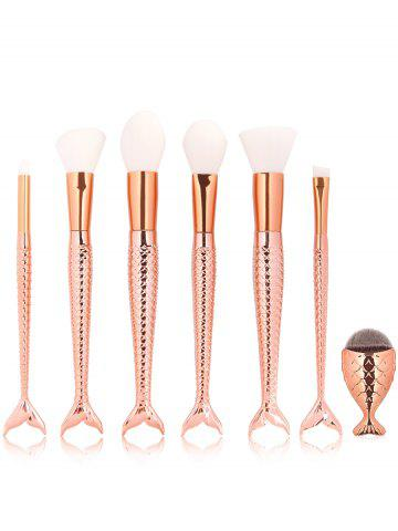 Chic 7Pcs Mermaid Shape Embellished Fiber Hair Makeup Brush Set