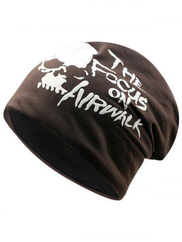 Affordable Outdoor Skull and Letter Pattern Two Layers Lightweight Beanie
