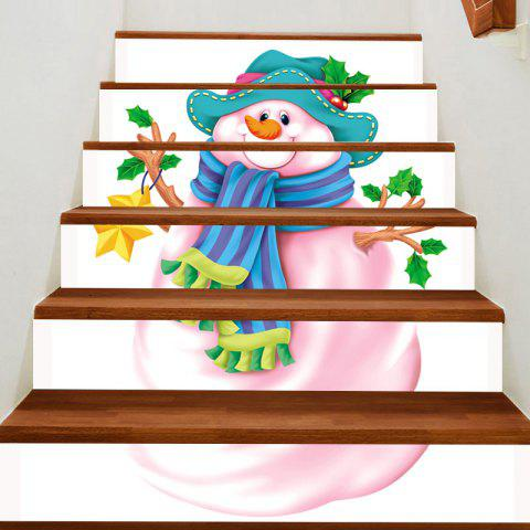 Outfit Pink Snowman Patterned Stair Stickers