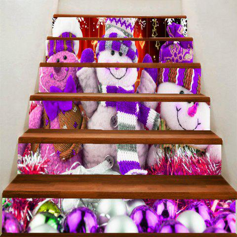 Unique Snowman Dolls Patterned Stair Stickers