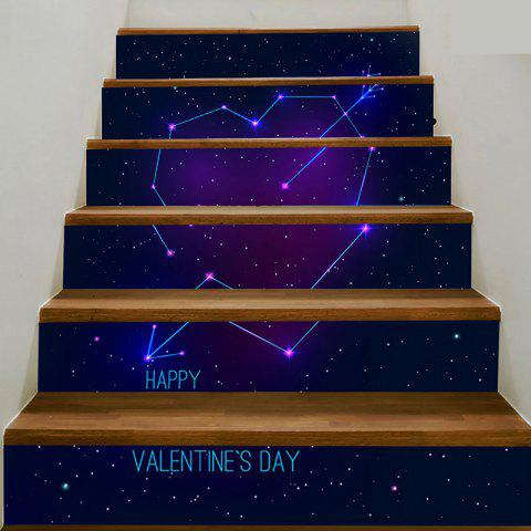 6pcs Cupidon Coeur Starry Sky Pattern Home escalier autocollants