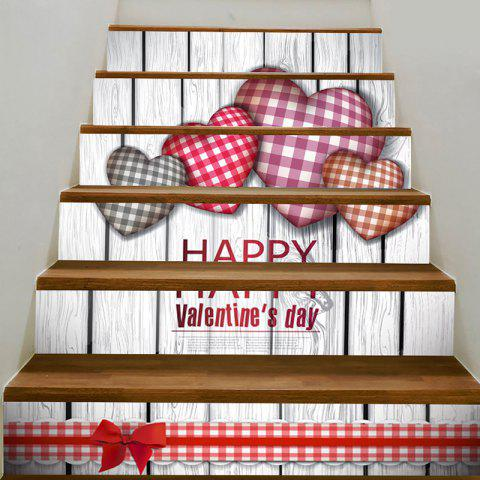 Trendy Valentine's Day Home Decoration Heart Printed Removable Stair Stickers