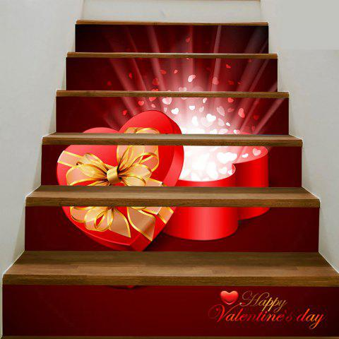 Fashion Heart Shape Gift Box Printed Stair Stickers